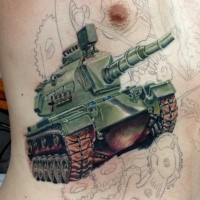 Incredible colored side tattoo fo modern American tank
