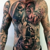 Incredible large colored colored horror style whole body tattoo of various monsters