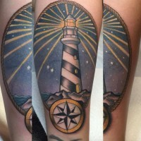 Incredible multicolored lighthouse portrait tattoo stylized with nautical star
