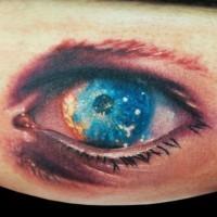 incredibile dipinto piccolo multicolore occhio tatuaggio su gamba