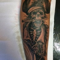 Incredible painted old black and white pirate skeleton tattoo on arm