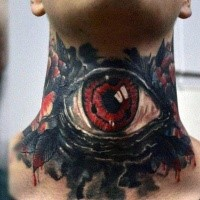 Incredible red colored mysterious eye tattoo on neck with bloody leaves
