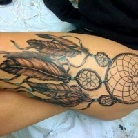Indian dream catcher with feathers tattoo on thigh