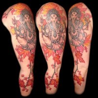 Indian ganesha full sleeve tattoo by Andrew Sussman
