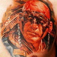 Indian warrior in combat color tattoo by Dmitriy Samohin