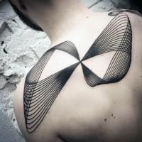 Infinity symbol like black ink lines tattoo on upper back