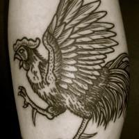 inchiostro grigio gallo tatuaggio per uomo