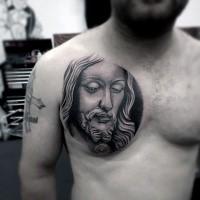 Inspirierendes religiöses Jesus Christus Porträt Kreis geformtes Tattoo auf der Brust