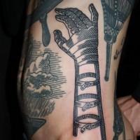 interessante nero e bianco futuristico cartone come mano tatuaggio su lato