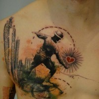 interessnte combinazione vecchio soldato con cuore tatuaggio su petto