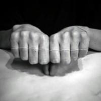 Interesting designed little white ink line tattoo on fingers