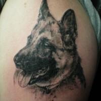 Interessante Tinte schwarzer Deutscher Schäferhund Tattoo-Design