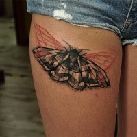 Interesting looking colored thigh tattoo of beautiful butterfly