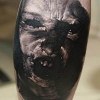 Interesting old horror movie monster portrait tattoo on leg