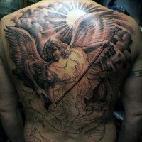Interesting unfinished colored angel warrior tattoo on whole back with snake and sun