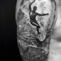 eccezionale stile d'epoca inchiostro nero surfista con macchina tatuaggio su spalla