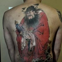 Japanese style colored whole back tattoo of warrior