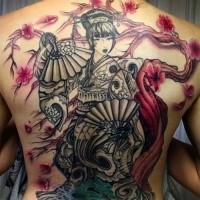 Japanese style colored whole back tattoo of geisha with flowers