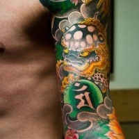 Japanese style dragon tattoo on arm