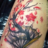 Japanese traditional style colored tattoo of fan with big tree