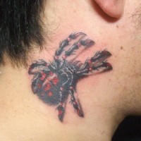 Karakurt spider tattoo  on neck for men
