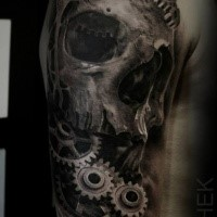 Large 3D style half sleeve tattoo of skull designed by Eliot Kohek