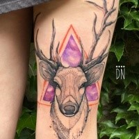 Large beautiful colored thigh tattoo of deer head with triangle