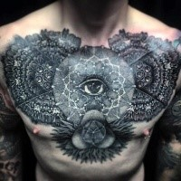 Large beautiful looking chest tattoo of various ornamental flowers with eye