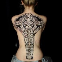 Large black ink amazing looking whole back tattoo of ancient statue