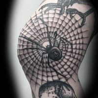 Large black ink arm tattoo of of incredible spider web and big spider