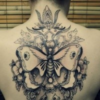 large black ink back tattoo of cool butterfly with flowers