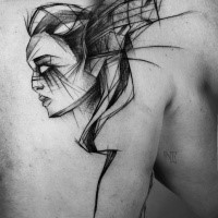 Large black ink fantasy sketch tattoo by Inez Janiak of woman with bat wings