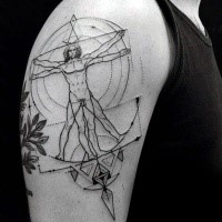 Large black ink upper back tattoo of Vitruvian man with geometrical figures