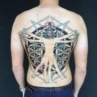 Gran tatuaje de espalda negra del hombre de Vitruvio combinado con figuras geométricas y ojo