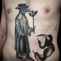 Large blackwork style belly tattoo of plague doctor with snake