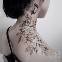 Large blackwork style painted by Zihwa shoulder tattoo of roses