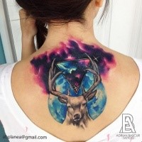 Large colored illustrative style upper back tattoo of deer with space and planet