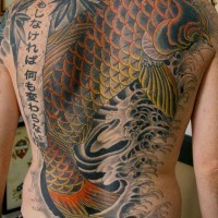 Large colored tattoo koi fish on whole back