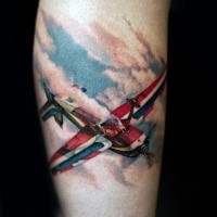 Large colorful leg tattoo of beautiful flying plain
