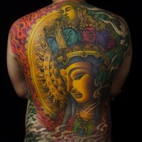 Large colorful whole back tattoo of of Buddha statue
