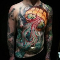 Large cool looking colored chest and belly tattoo of jellyfish