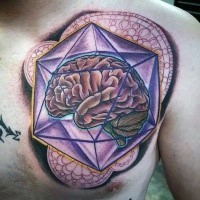 Large creative designed colorful chest tattoo of human brain in geometrical figure