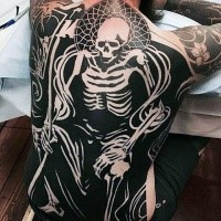 Large creative looking whole back tattoo of human skeleton