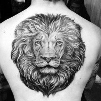 Large dot style black ink back tattoo of lion head