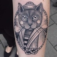Large dot style forearm tattoo of sailor cat portrait