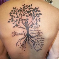 Large family tree tattoo on back