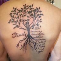 Tatuaggio bianco nero sulla schiena l'albero della famiglia