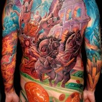 Large illustrative style whole body tattoo of ancient times