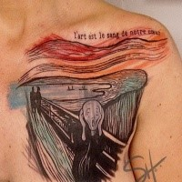 Large linework style colored chest tattoo of ghost with people and lettering