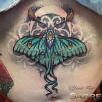 Grande pintado por Jenna Kerr tatuaje en la parte superior de la espalda de mariposa fantástica